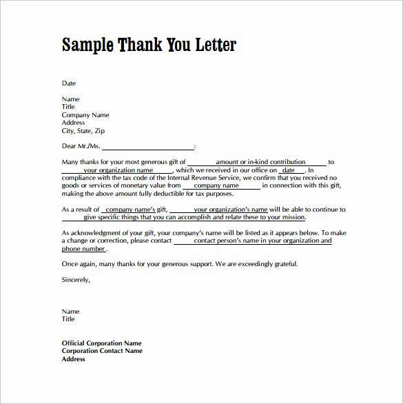 Letter Of Appreciation Templates Elegant Free 9 Sample Thank You Letters for Gifts In Doc