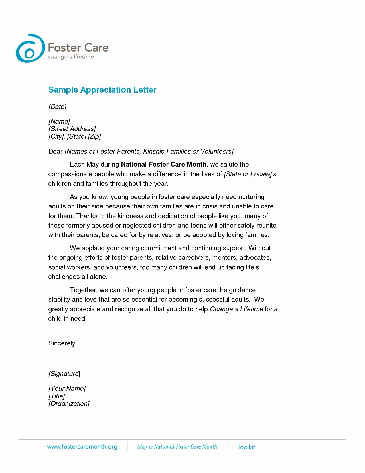 Letter Of Appreciation Templates Elegant Volunteer Appreciation Letter Sample