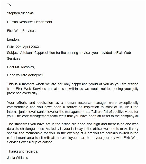 Letter Of Appreciation Templates New Free 20 Sample Useful Retirement Letters In Microsoft