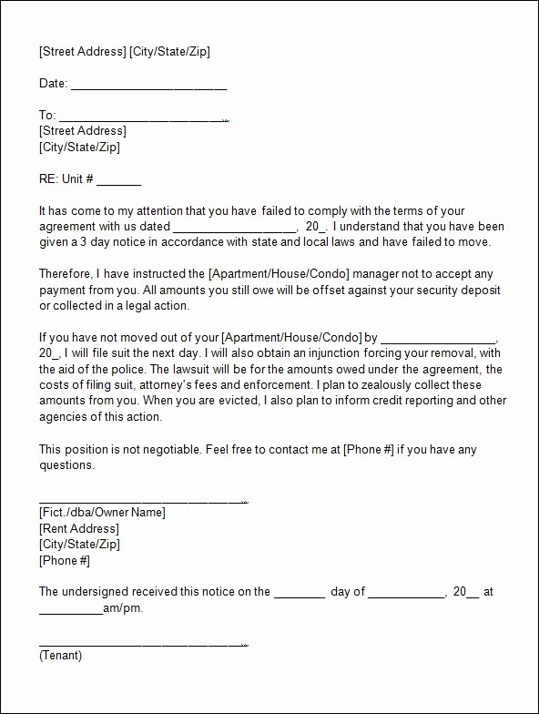 Letter Of Eviction Template Awesome Sample Eviction Notice Template 12 Free Documents In