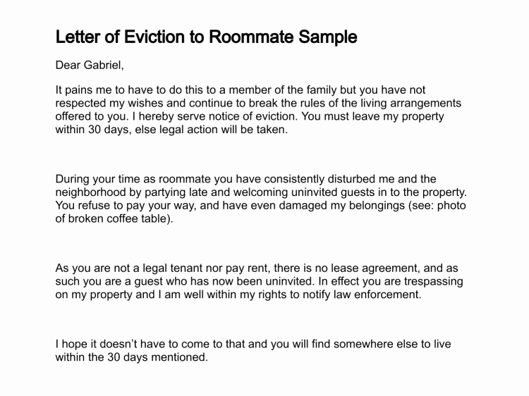 Letter Of Eviction Template Best Of 30 Day Notice to Vacate Template