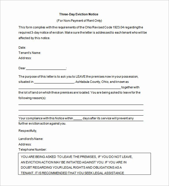 Letter Of Eviction Template Inspirational 6 Eviction Letter Template Doc Pdf