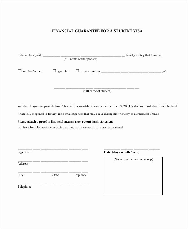 Letter Of Financial Responsibility Template Awesome 54 Guarantee Letter Samples Pdf Doc