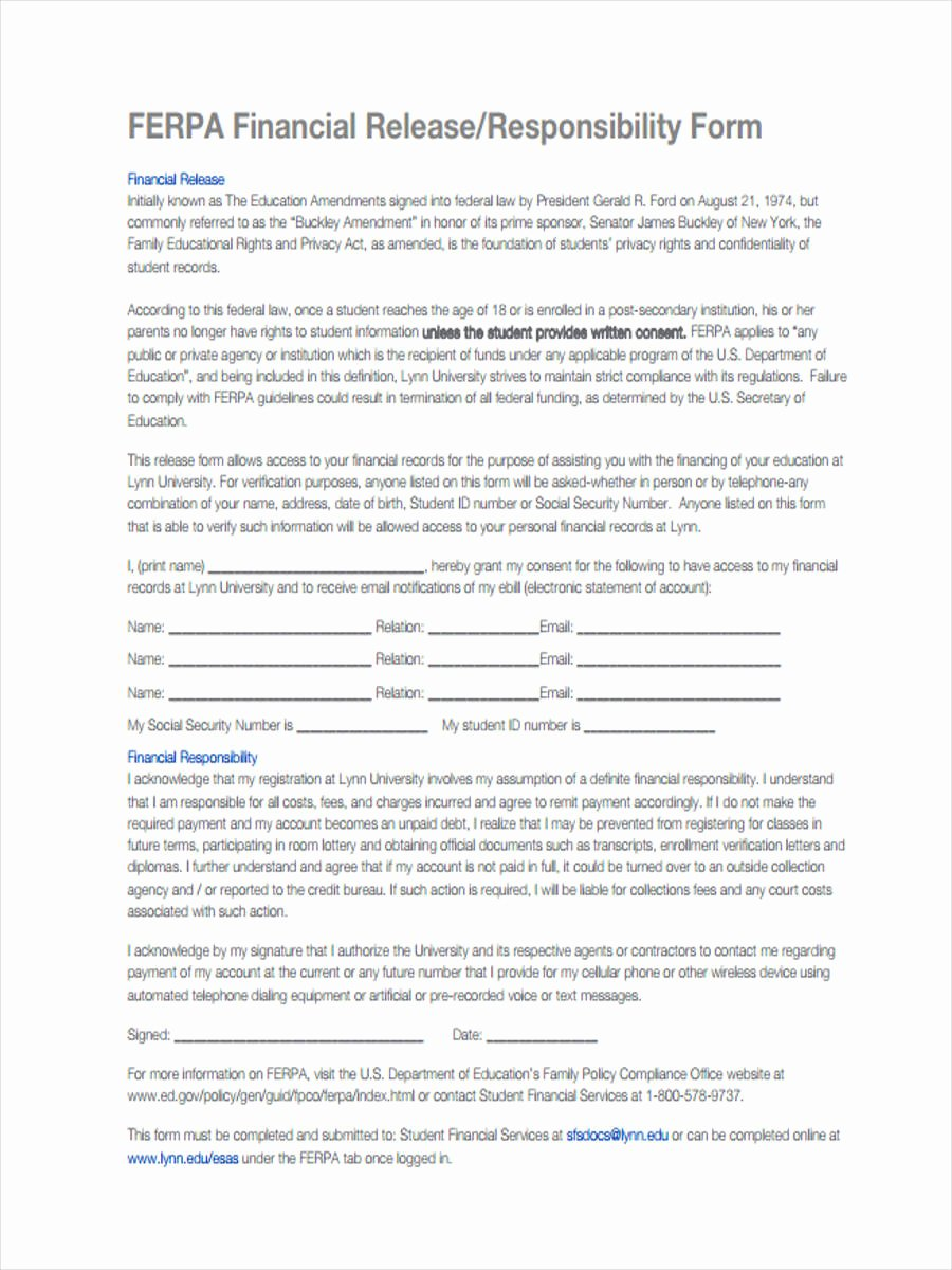 Letter Of Financial Responsibility Template Beautiful 6 Financial Responsibility forms Free Sample Example