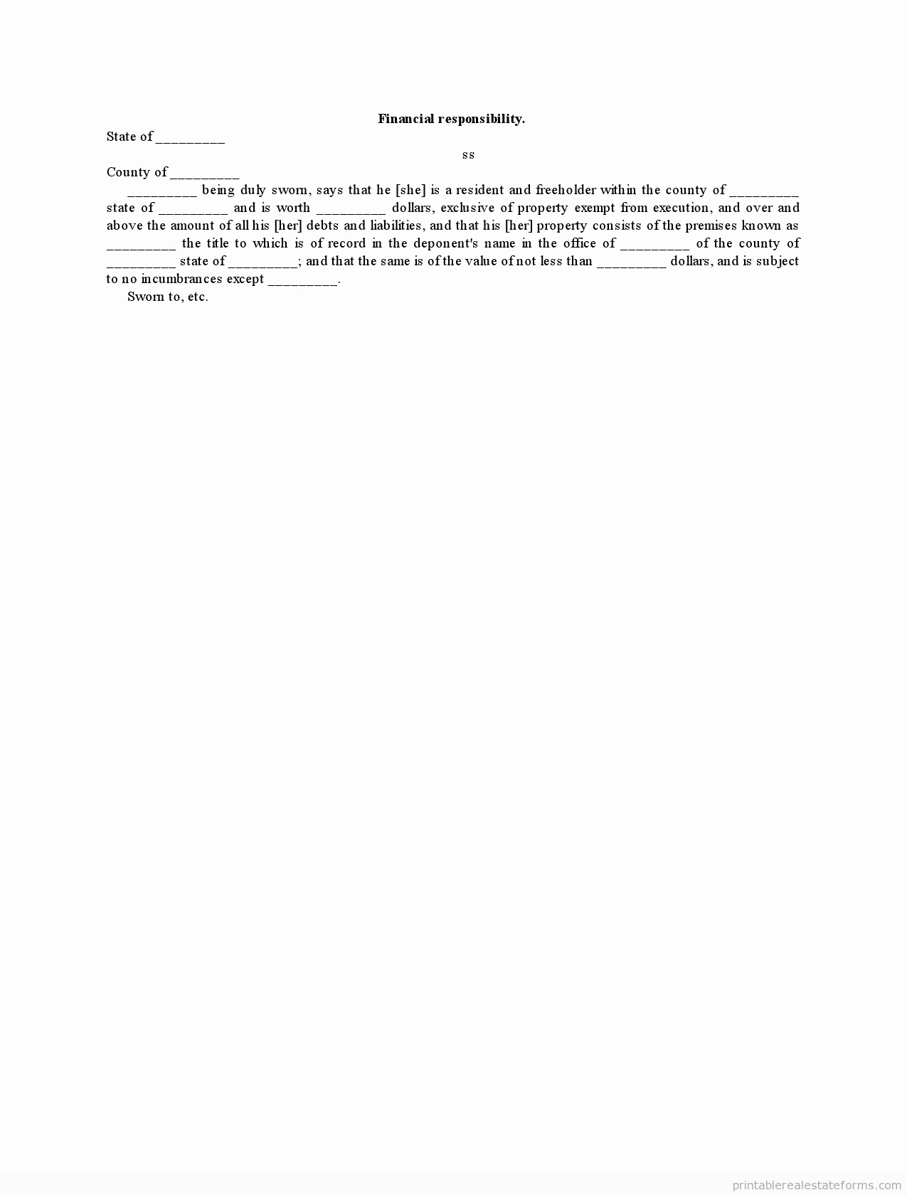 Letter Of Financial Responsibility Template Beautiful Sample Printable Financial Responsibility form
