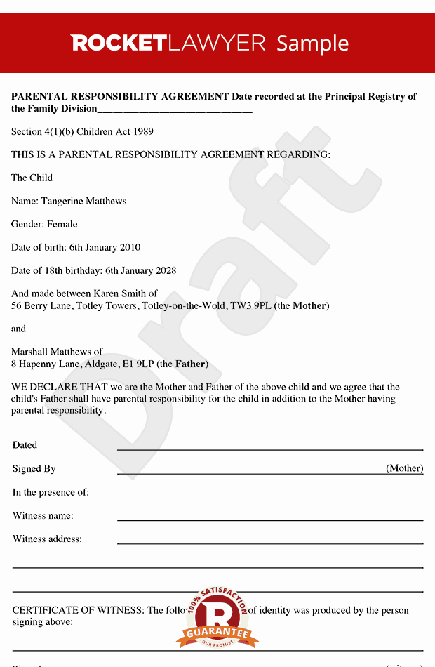 Letter Of Financial Responsibility Template Inspirational Parental Responsibility Agreement Parental