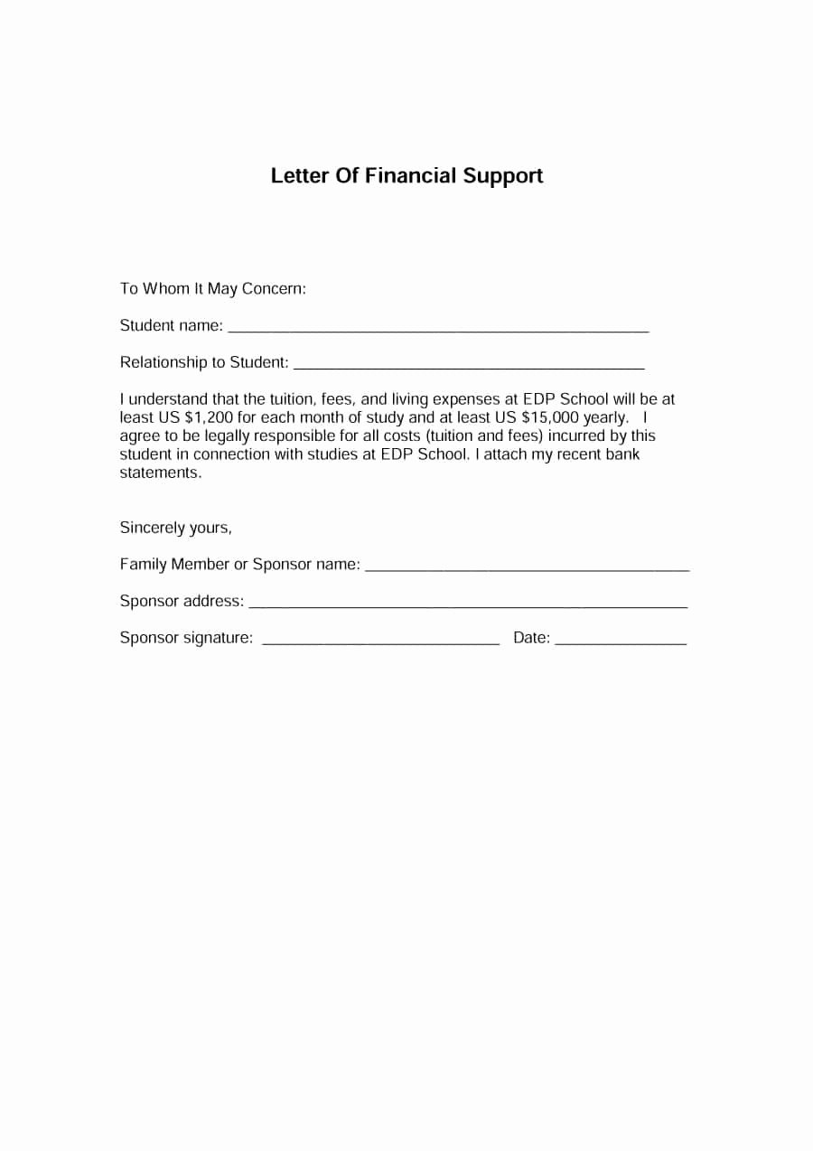 Letter Of Financial Responsibility Template Unique 40 Proven Letter Of Support Templates [financial for