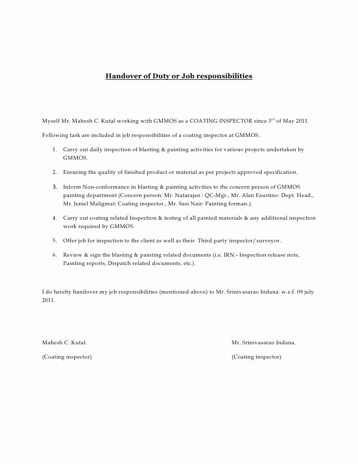 Letter Of Financial Responsibility Template Unique Handover Of Duty or Job Responsibilities
