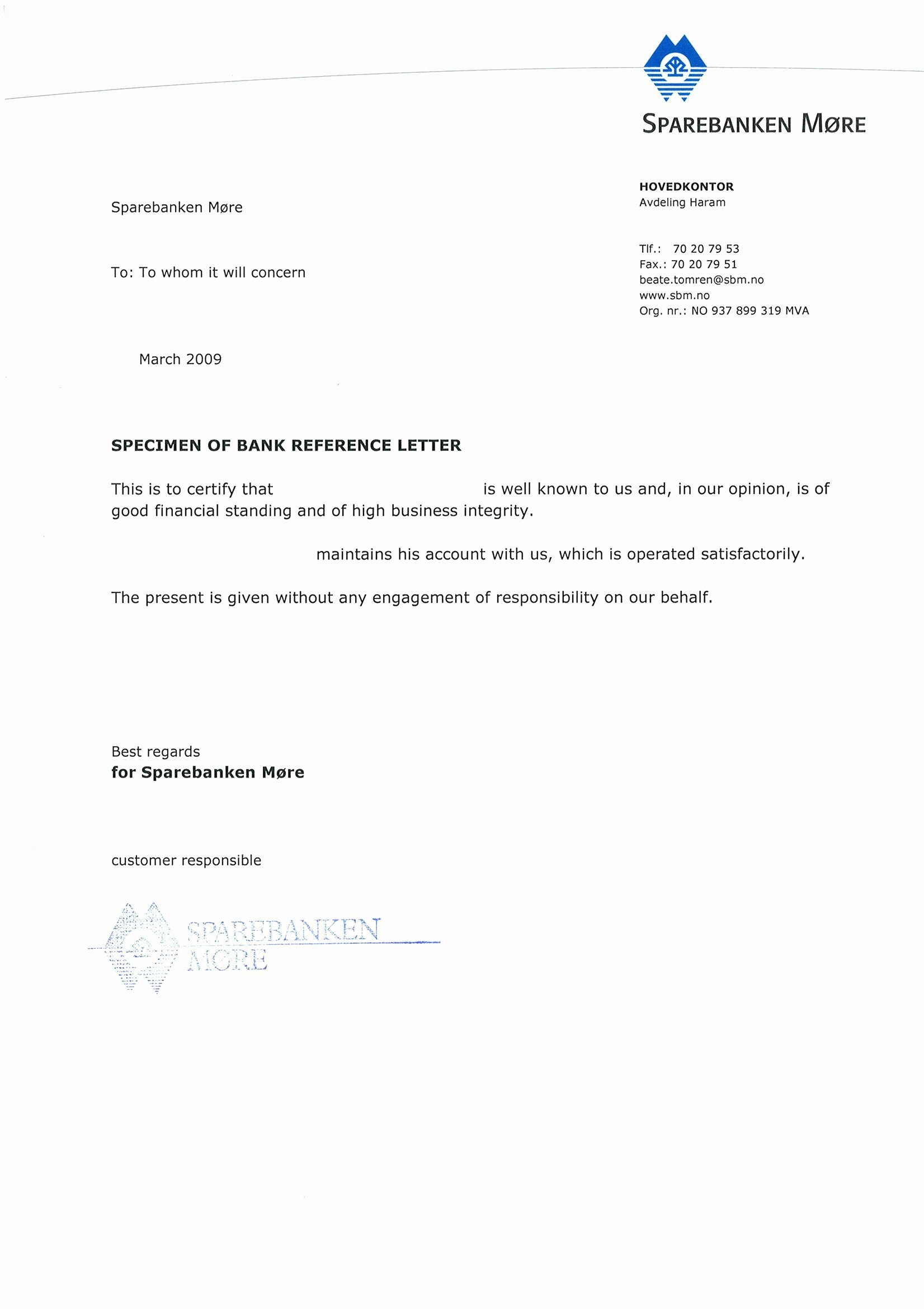 Letter Of Financial Responsibility Template Unique Sample Bank Reference Lettersexamples Of Reference Letters