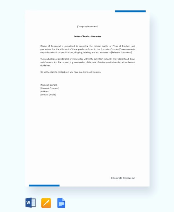 Letter Of Guarantee Template Awesome 21 Sample Letters Of Guarantee Pdf Word Apple Pages