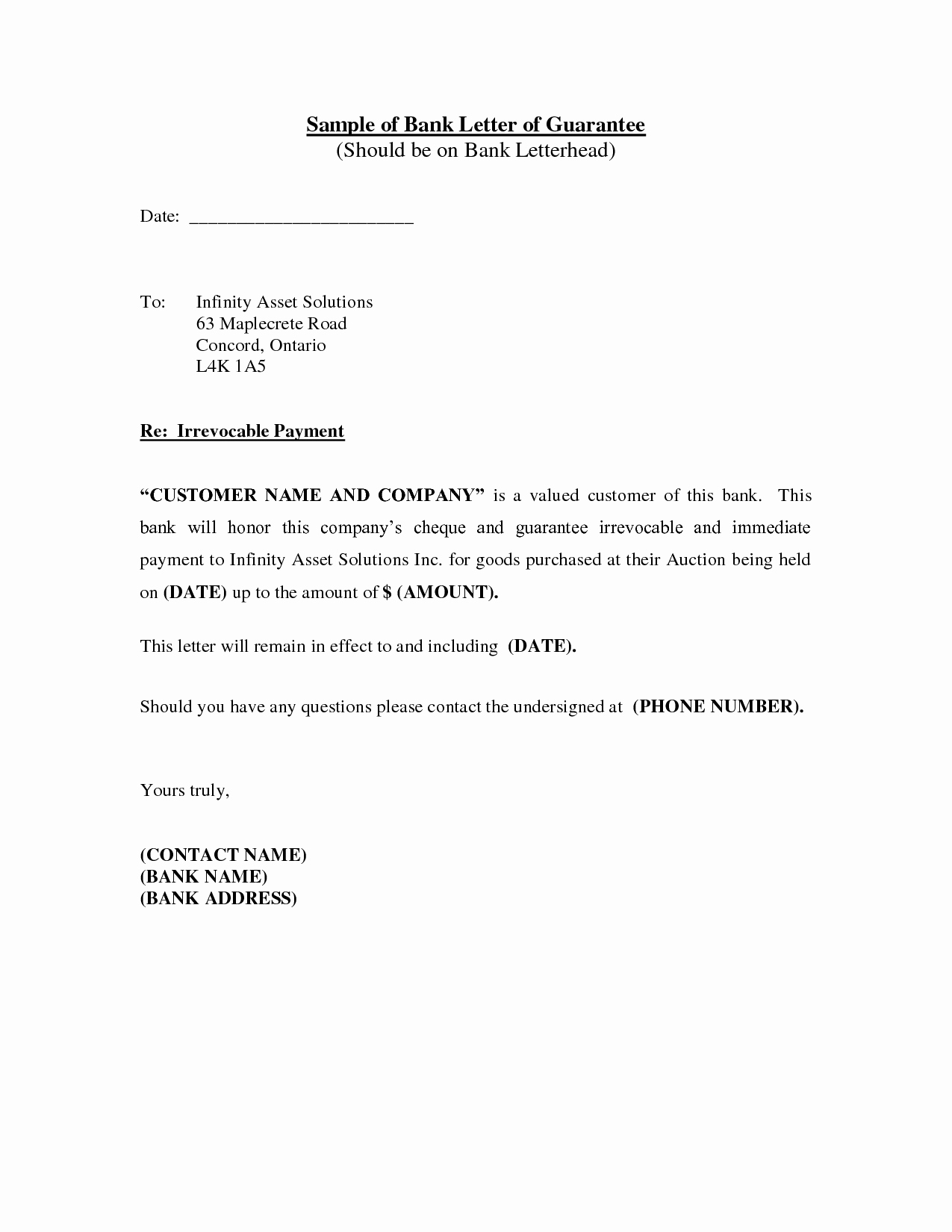 Letter Of Guarantee Template Awesome Best S Of Sample Letter From A Bank Bank Reference