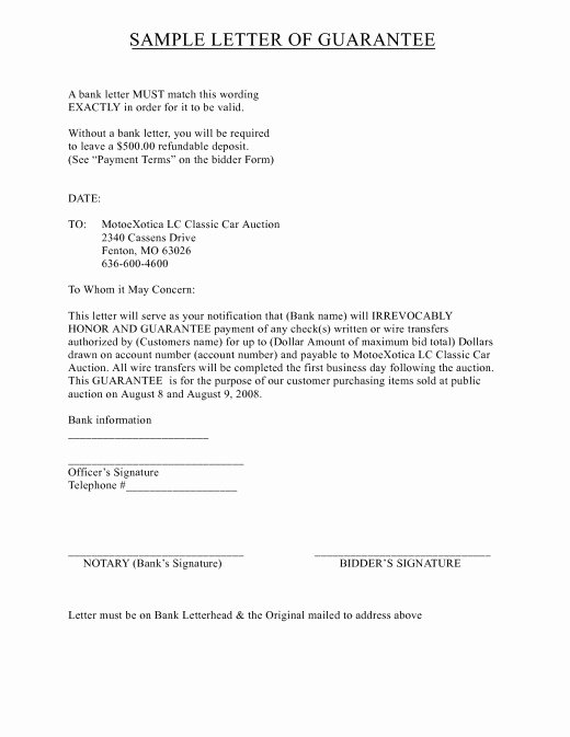 Letter Of Guarantee Template Awesome Letter Of Guarantee Template Auto Title – Aktin