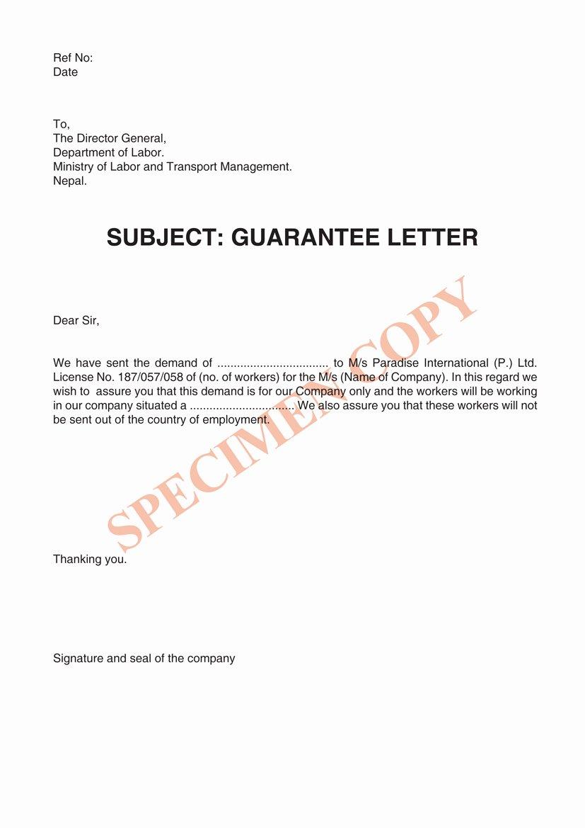 Letter Of Guarantee Template Best Of Paradise International Manpower In Nepal Overseas In