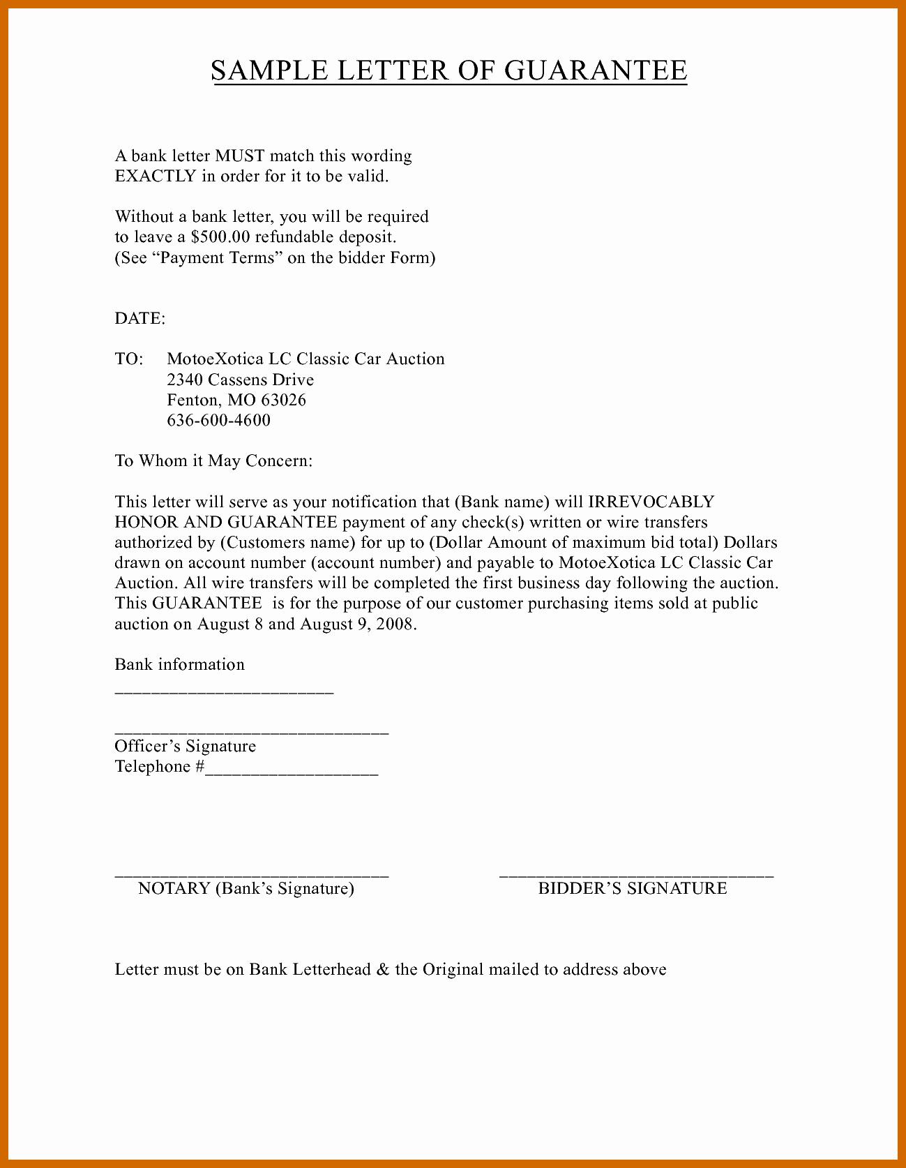 Letter Of Guarantee Template Elegant 4 5 Guarantee Letter Sample