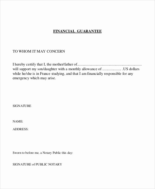 Letter Of Guarantee Template Elegant 54 Guarantee Letter Samples Pdf Doc