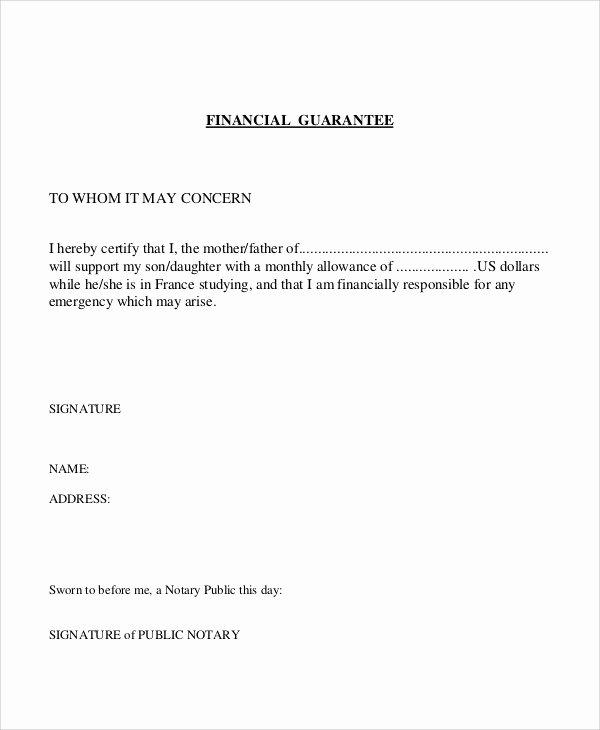 Letter Of Guarantee Template Elegant 54 Guarantee Letter Samples Pdf Doc