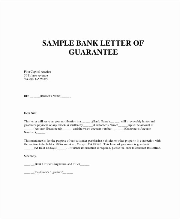 Letter Of Guarantee Template Inspirational 54 Guarantee Letter Samples Pdf Doc