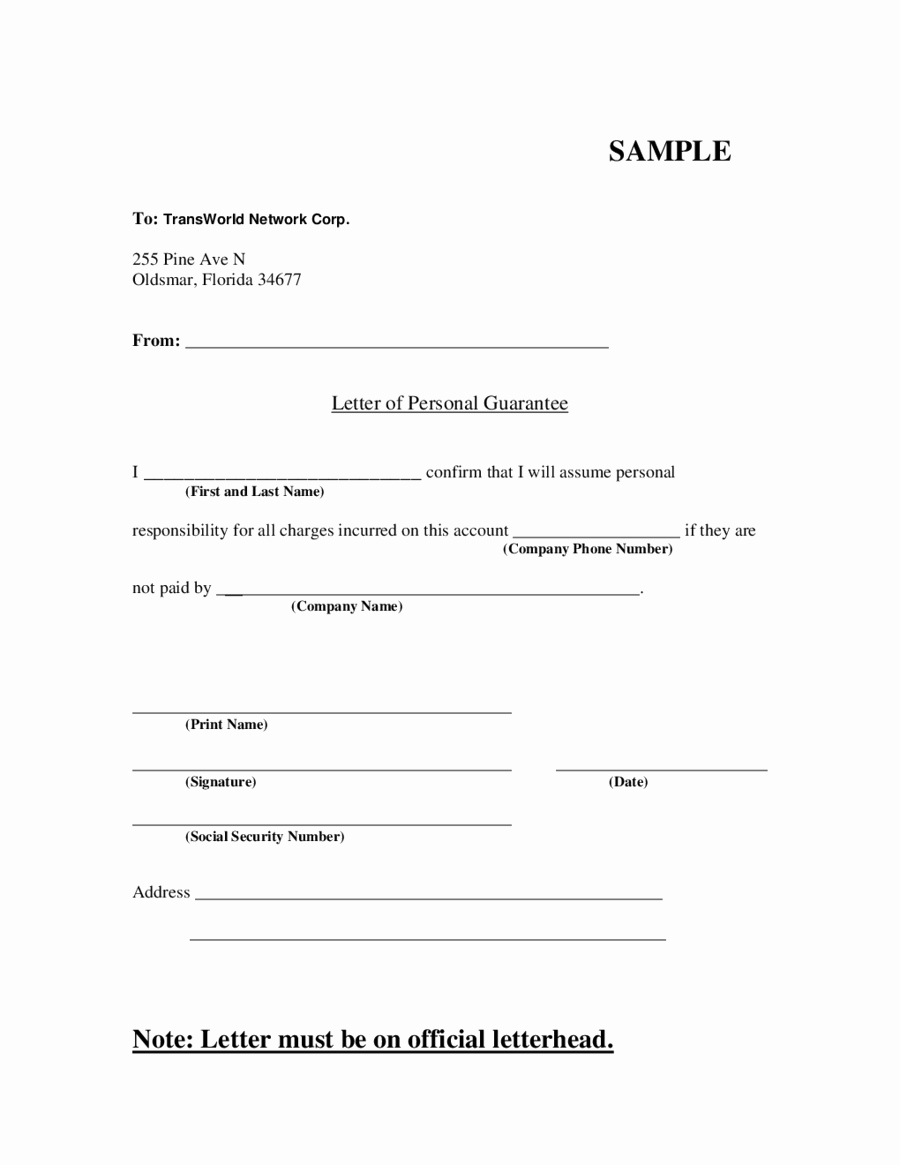 Letter Of Guarantee Template Luxury Letter Of Personal Guarantee Edit Fill Sign Line