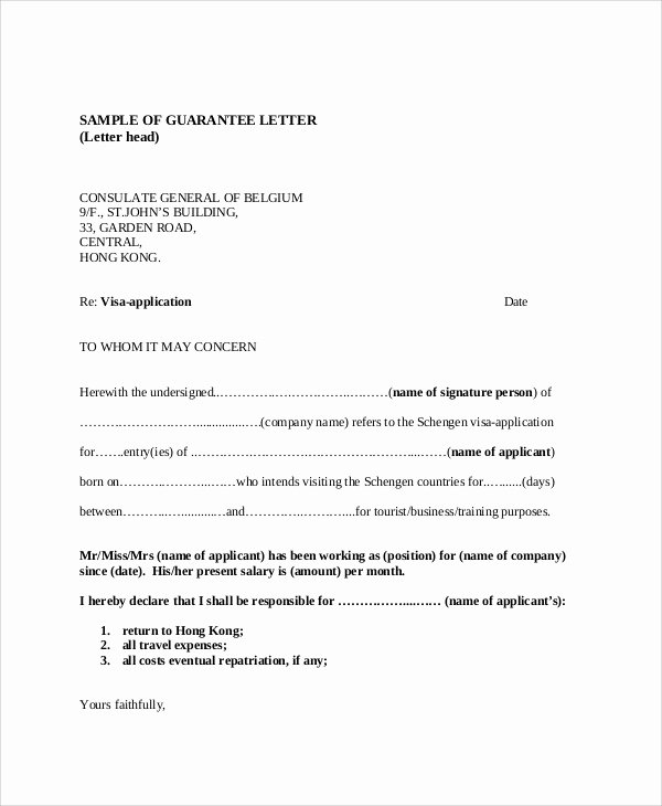 Letter Of Guarantee Template Unique 54 Guarantee Letter Samples Pdf Doc