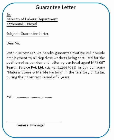 Letter Of Guarantee Template Unique Best S Of Corporate Guarantee Letter Sample Pany