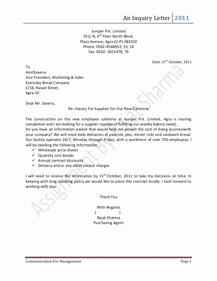 Letter Of Inquiry Template Beautiful Inquiry Letter