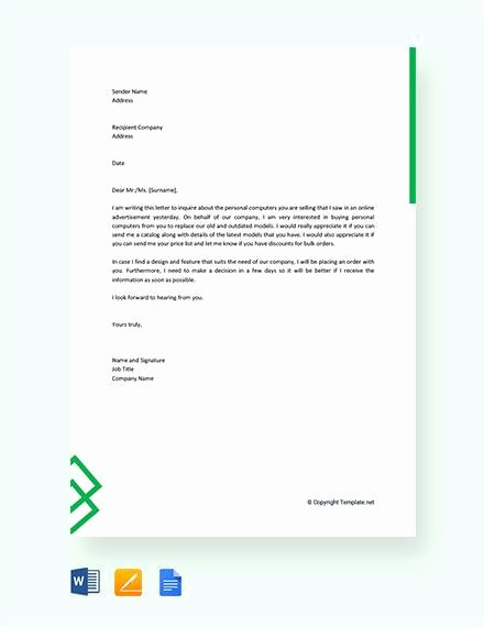 Letter Of Inquiry Template Lovely 8 Sample Business Enquiry Letters Word Pdf