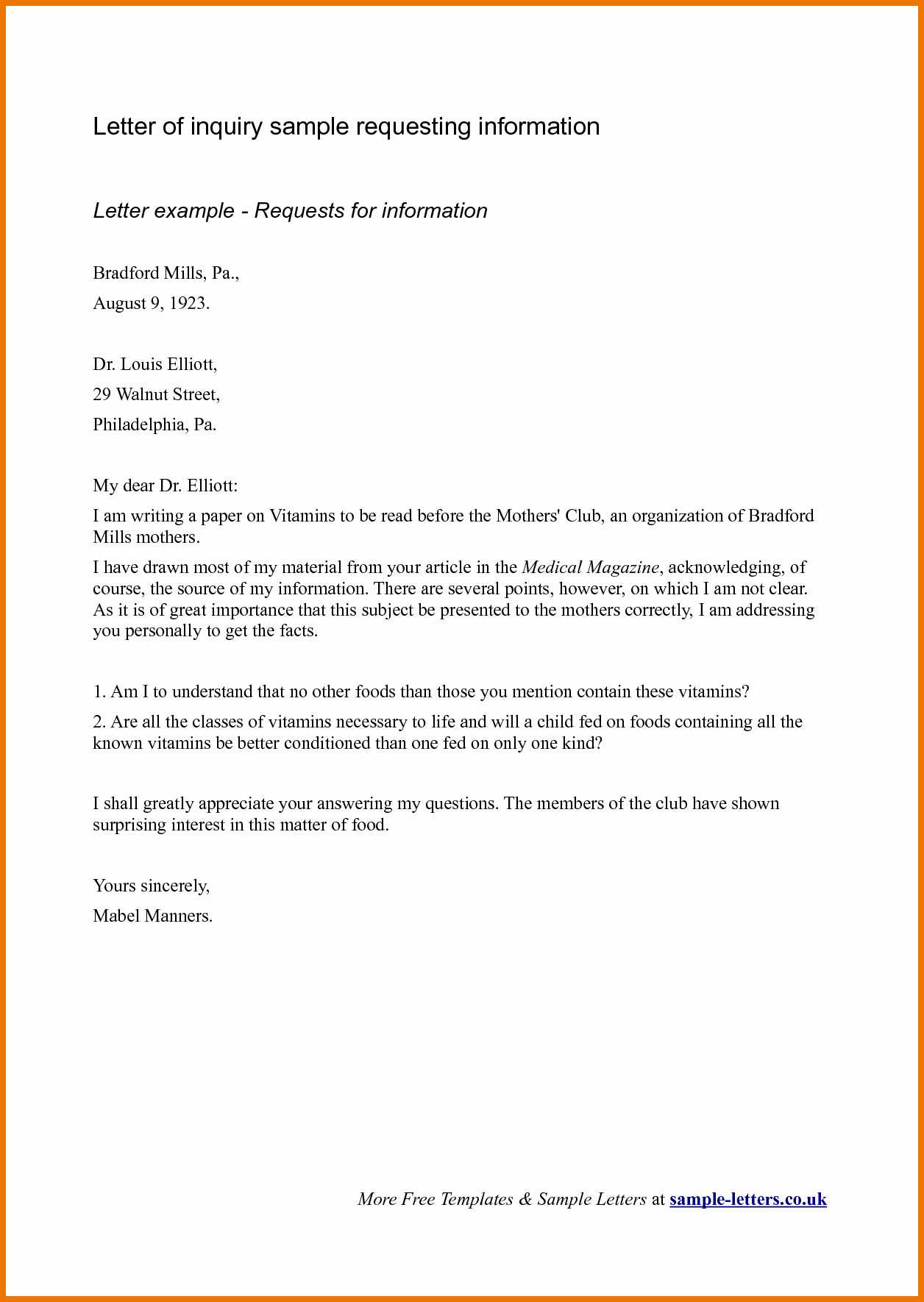 Letter Of Inquiry Template New formal Inquiry Letter Samples for Your Inspirations Vatansun