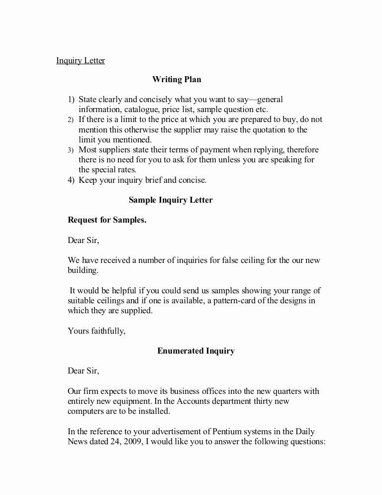 Letter Of Inquiry Template Unique Inquiry Letter