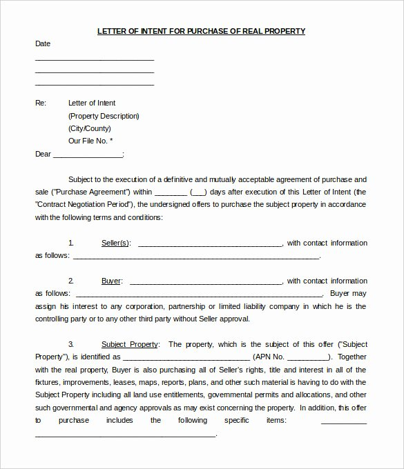 Letter Of Intent Template Word Beautiful 11 Real Estate Letter Of Intent Templates Pdf Doc