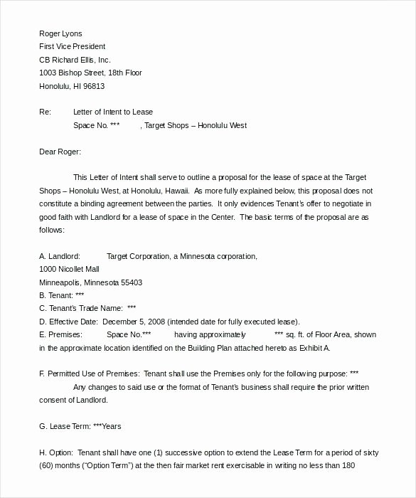 Letter Of Intent Template Word Beautiful Letter Of Intent Sample Real Estate Lease Template Ms Word