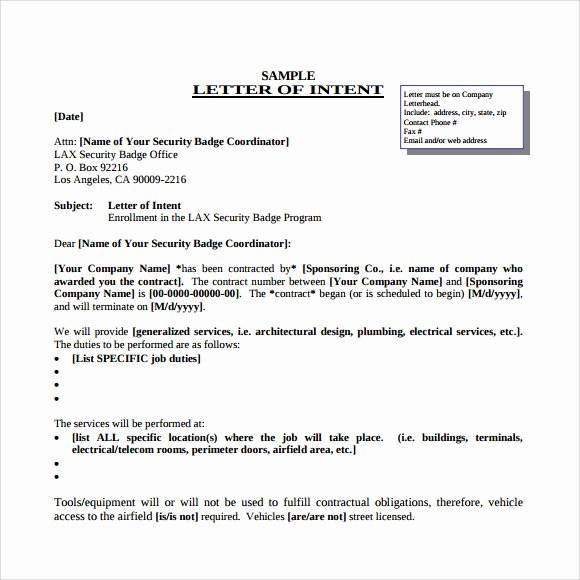 Letter Of Intent Template Word Fresh Letter Of Intent for A Job 9 Download Free Documents In