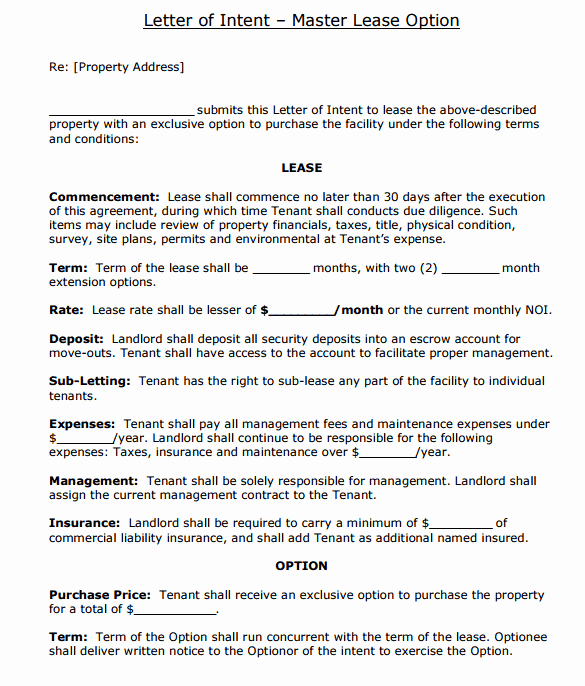 Letter Of Intent Template Word Unique 4 Letter Of Intent to Lease Templates Word Excel Templates