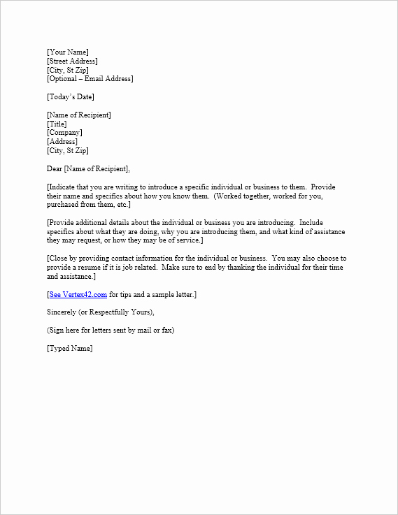 Letter Of Introduction Template Fresh Free Letter Of Introduction Template