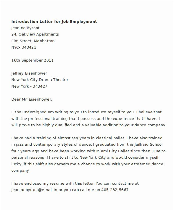 Letter Of Introduction Template Fresh Letter Introduction Personal How to Write An
