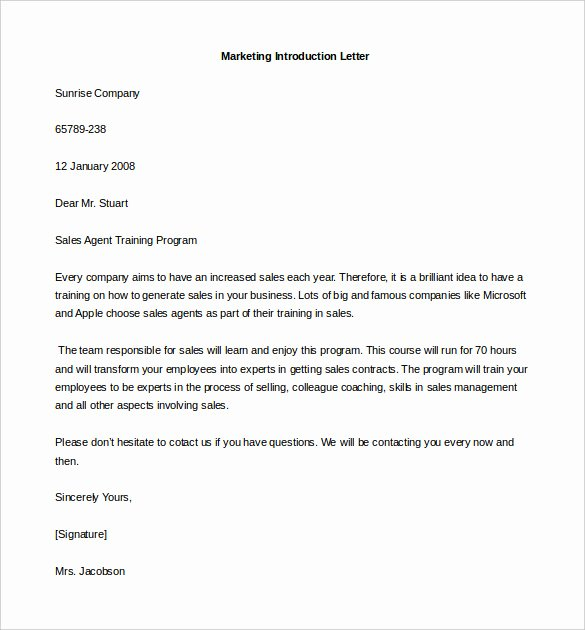 Letter Of Introduction Template Unique Introduction Email to Client Template 5 Free Samples