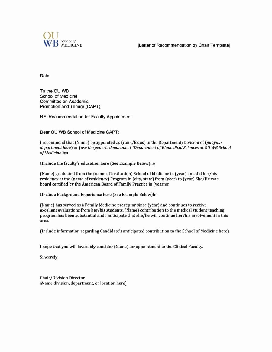 Letter Of Recommendation Template Beautiful 43 Free Letter Of Re Mendation Templates & Samples