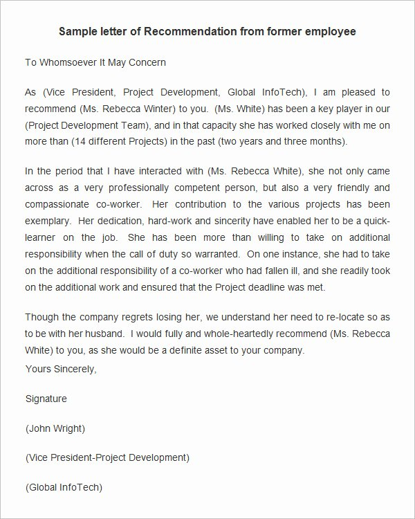 Letter Of Recommendation Template Lovely 18 Employee Re Mendation Letters Pdf Doc