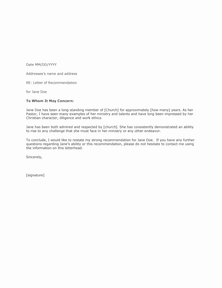 Letter Of Recommendation Template Lovely 43 Free Letter Of Re Mendation Templates & Samples