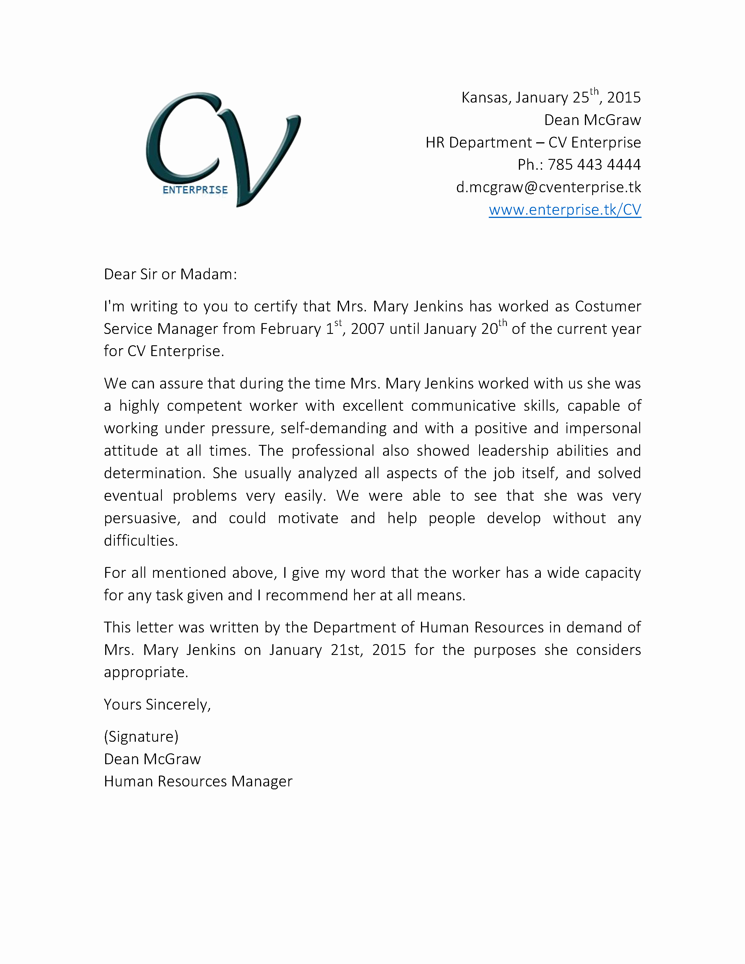 Letter Of Recommendation Template Lovely Re Mendation Letter for Customer Service Job 2 Grow