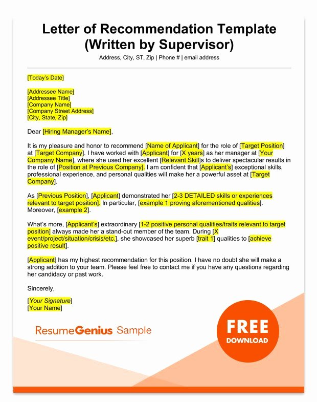 Letter Of Recommendation Template New Free Letters Of Re Mendation Template Picture – Sample
