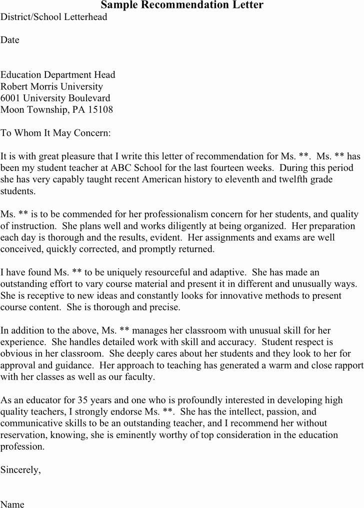 Letter Of Recommendation Templates Beautiful Free Three Sample Re Mendation Letters Pdf 1 Page S