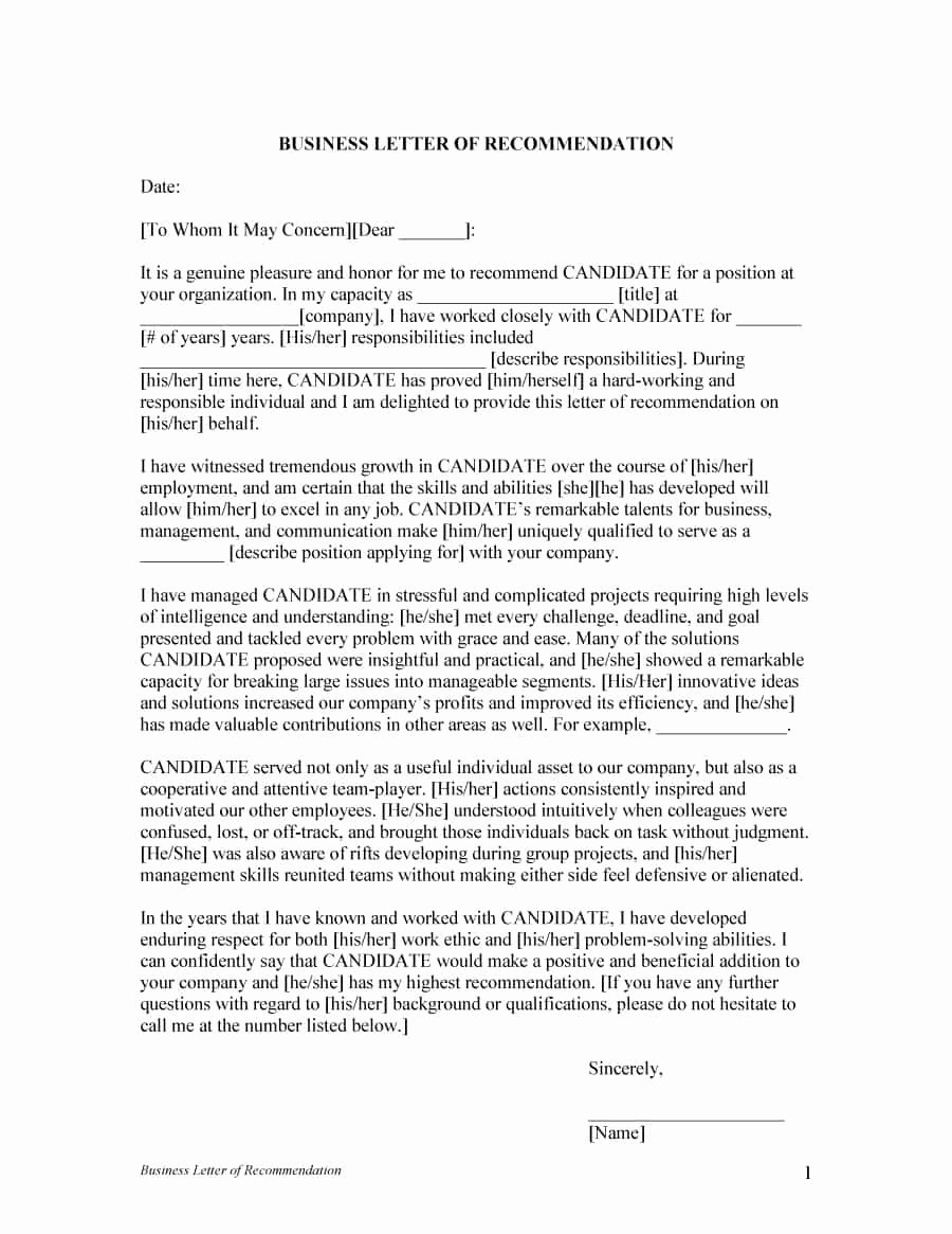 Letter Of Recommendation Templates Best Of 43 Free Letter Of Re Mendation Templates & Samples