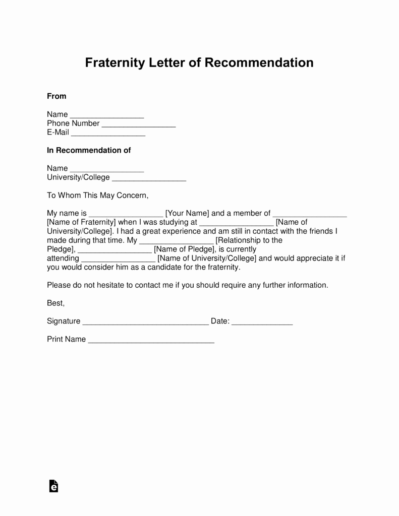 Letter Of Recommendation Templates Best Of Free Fraternity Letter Of Re Mendation Template with