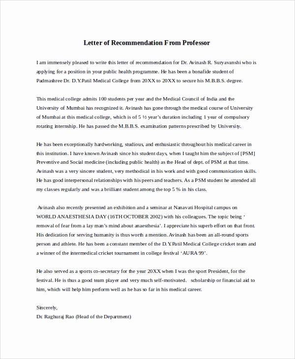 Letter Of Recommendation Templates Luxury 28 Letter Of Re Mendation In Word Samples