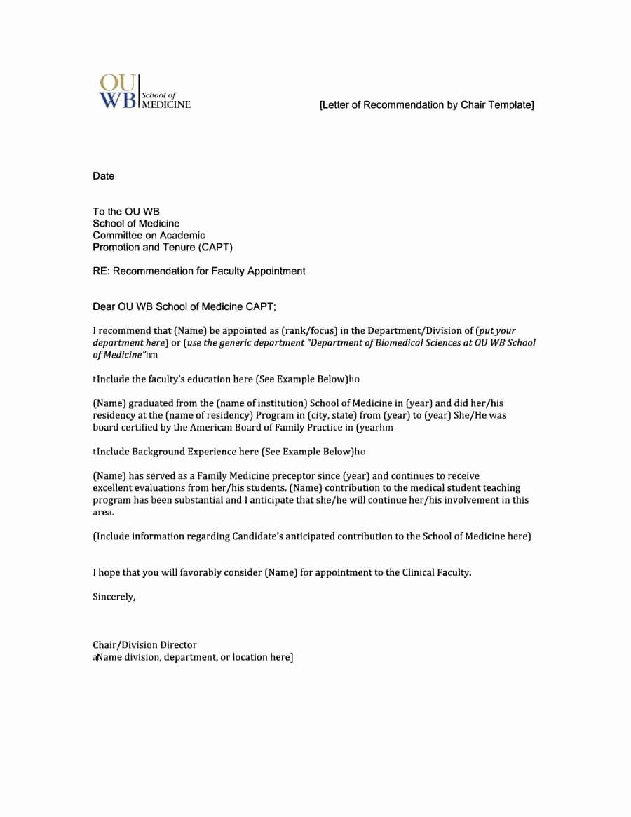 Letter Of Recommendation Templates Unique 43 Free Letter Of Re Mendation Templates & Samples