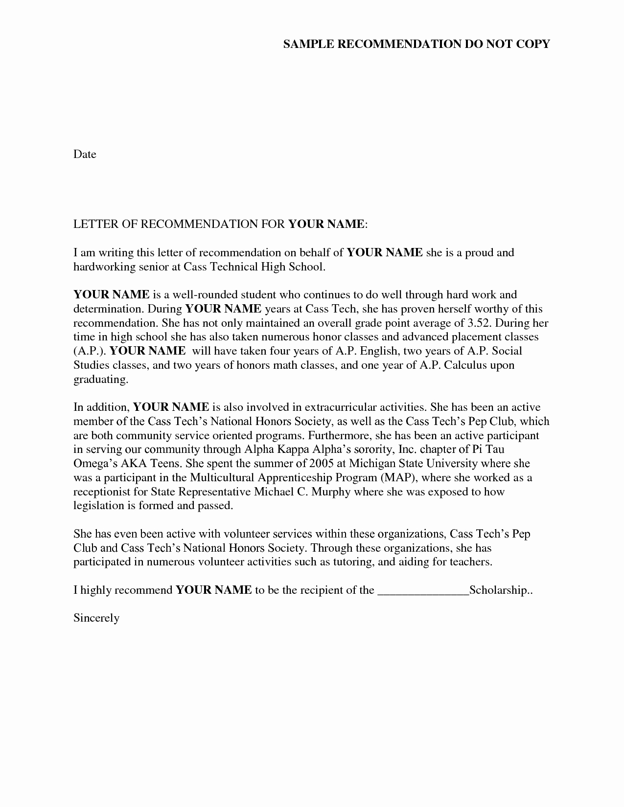 Letter Of Recommendation Templates Unique Reference Letter Of Re Mendation Sample