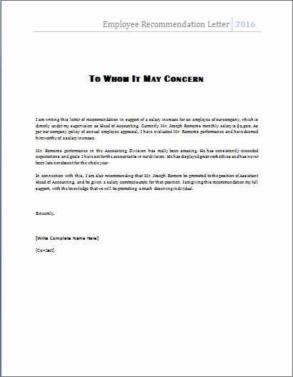 Letter Of Recommendation Templates Word Elegant Ms Word Employee Re Mendation Letter Template