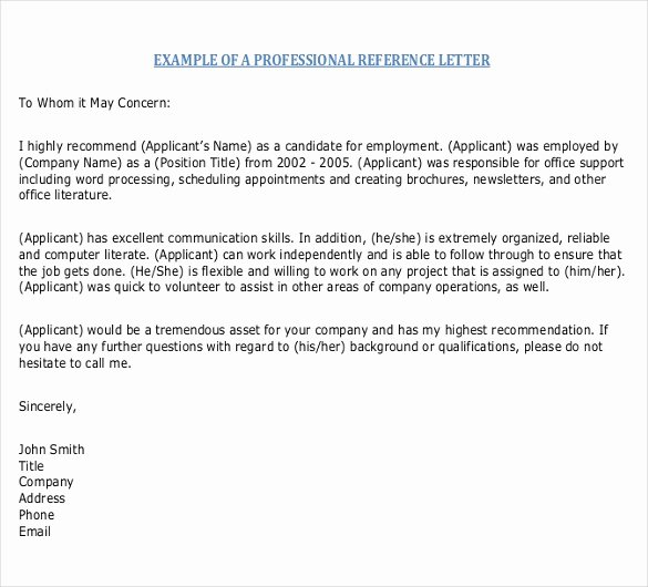 Letter Of Recommendation Templates Word New Reference Letter Templates – 18 Free Word Pdf Documents