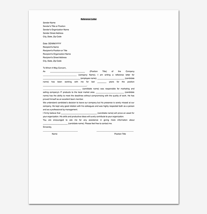 Letter Of Recommendation Templates Word Unique Reference Letter Template 50 for Word & Pdf format