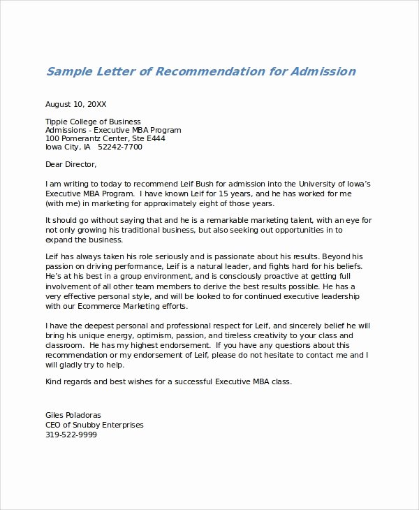 Letter Of Recommendations Template Beautiful 28 Letter Of Re Mendation In Word Samples